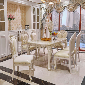 Luxury White Lacquer Silver Gold Stroke Antique French Provincial Dining  Room Furniture Marble Wooden Top Table And Chairs Set - Buy Antique French  ...