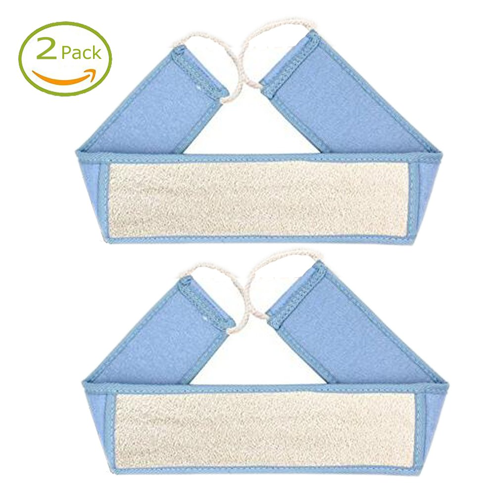 SKBL Exfoliating Loofah Shower Back Scrubber, 100% Safe Natural Loofah Raw Material, Chemical Free, Anti Bacteria and Mold, 3 Colors, 2 Pack (Blue)