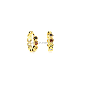 China factory 2017 18k yellow gold rainbow cz fashion hoop clip on ear jewelry gold small hoop earring