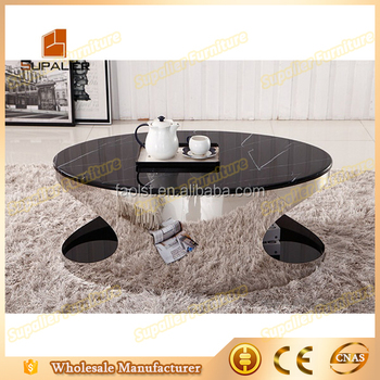 High Glossy Oval Gl Metal Legs Stainless Steel Coffee Table Gloss