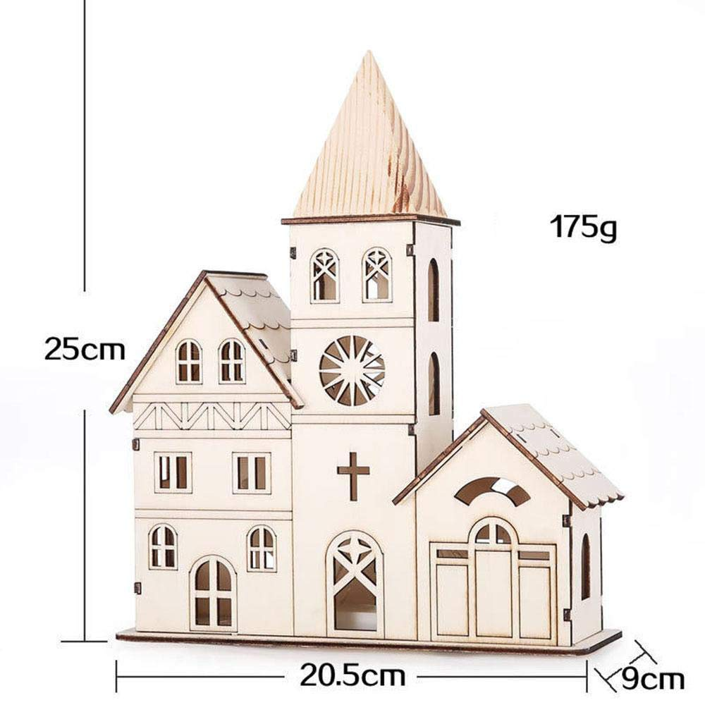 HOMDC Wood Color Night Light Creative Glowing Ornaments Party Supplies Mini Decorations LED Christmas Church Cute Perfect Present Clock Tower
