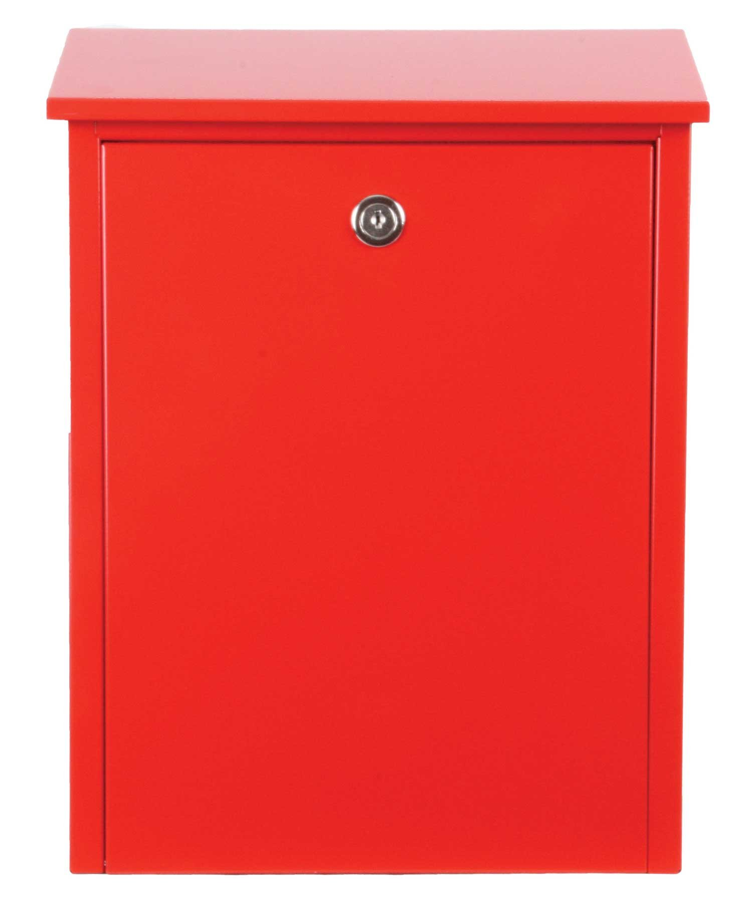 Qualarc Allux 200 Top Loading Wall or Post Mount Locking Galvanized Steel Mailbox in Red