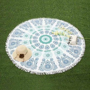 YX-06013 Wholesale Custom Printed Microfiber Mandala Pattern Round Beach Towel