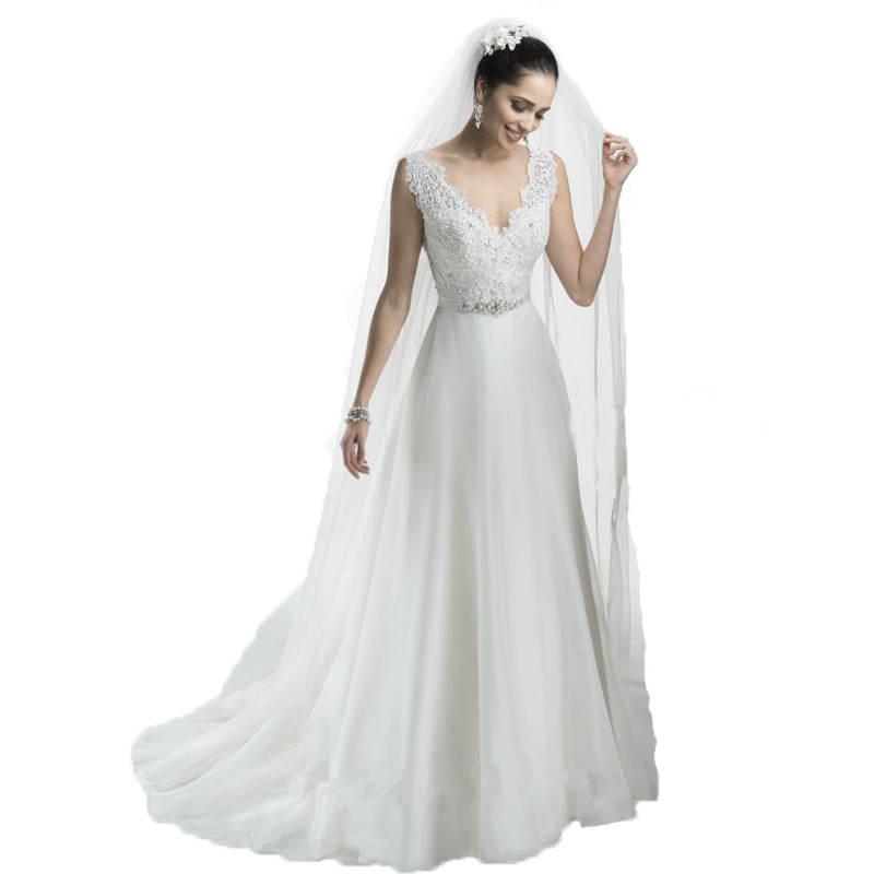 Simple Elegant Country Style Wedding Dresses With Lace: 2016 New Arrival Romantic Princess A Line Lace Bodice