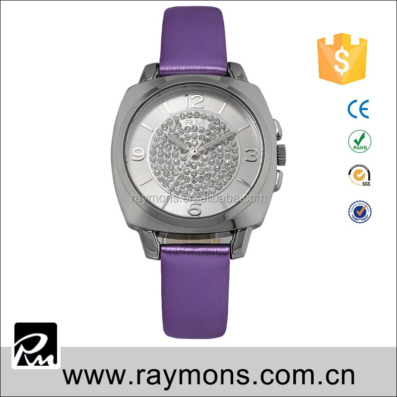Highly quality customer brand designer Hot selling diamond dial while leather watches for woman