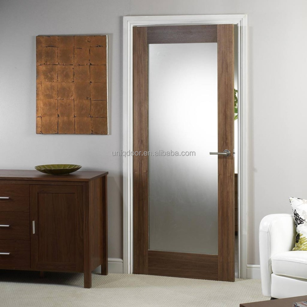 Walnut Door Frosted Glass Panel Interior French Wood Door Buy Wood
