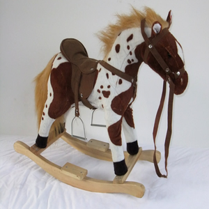 2019 playful stuffed plush horse toys, custom wooden rocking horse toy for kids