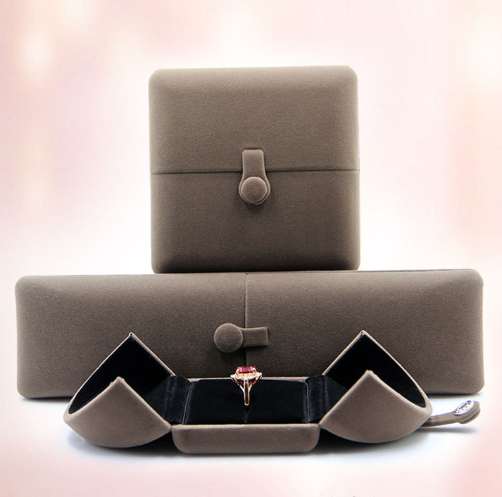 High quality Velvet ring Box flocking Jewelry boxes gift box