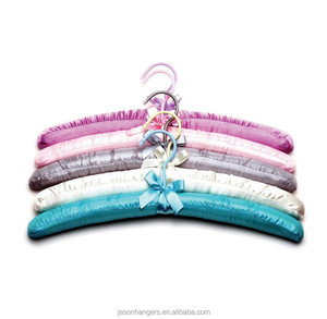 wholesale colorful silk fabric Satin Padded Hangers with satin ribbon