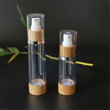 acrylic lotion Cosmetic Container jar double airless Pump Bottle bamboo lid for thick cream 15ml 30ml 50ml 100ml 120ml