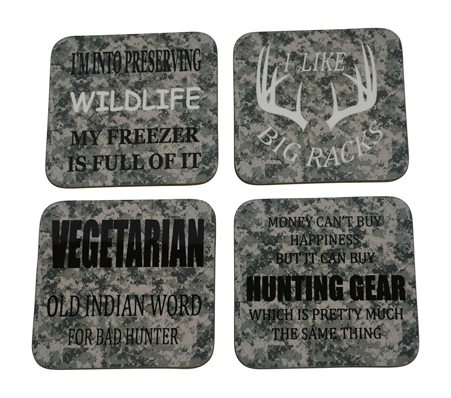 Hunting Drink Coaster Set Hunting Gift Beer Drinking Joke Funny Home Kitchen Barware Camo