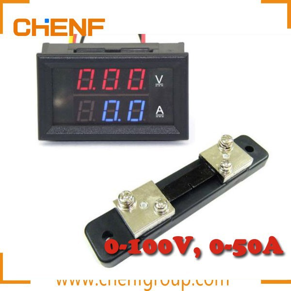 China Manufacture Red Blue Digital LED Dual Display Voltmeter 0-100V Ammeter 50A Amp Volt + Current Shunt