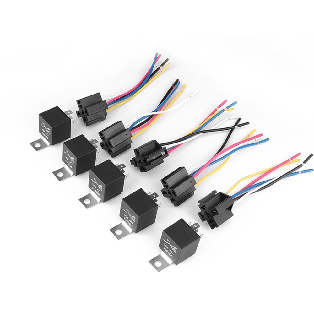 ESUPPORT Iron Back Universal Black Car Truck Auto 12V 40A 40 AMP SPDT Relay Socket Plug 5 Pin Pack of 5