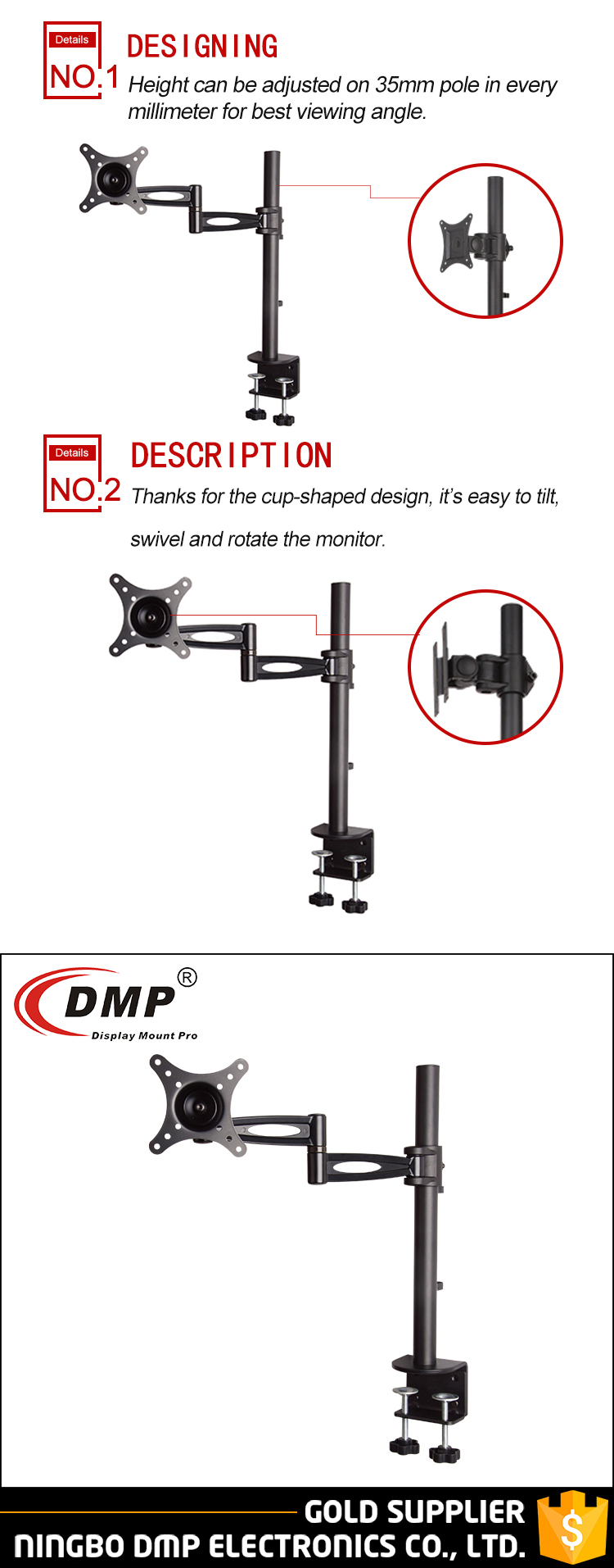 "LCD512S Aluminum adjustable flexible single LCD monitor arm desktop mount fOR 13-27"" Led Monitor"