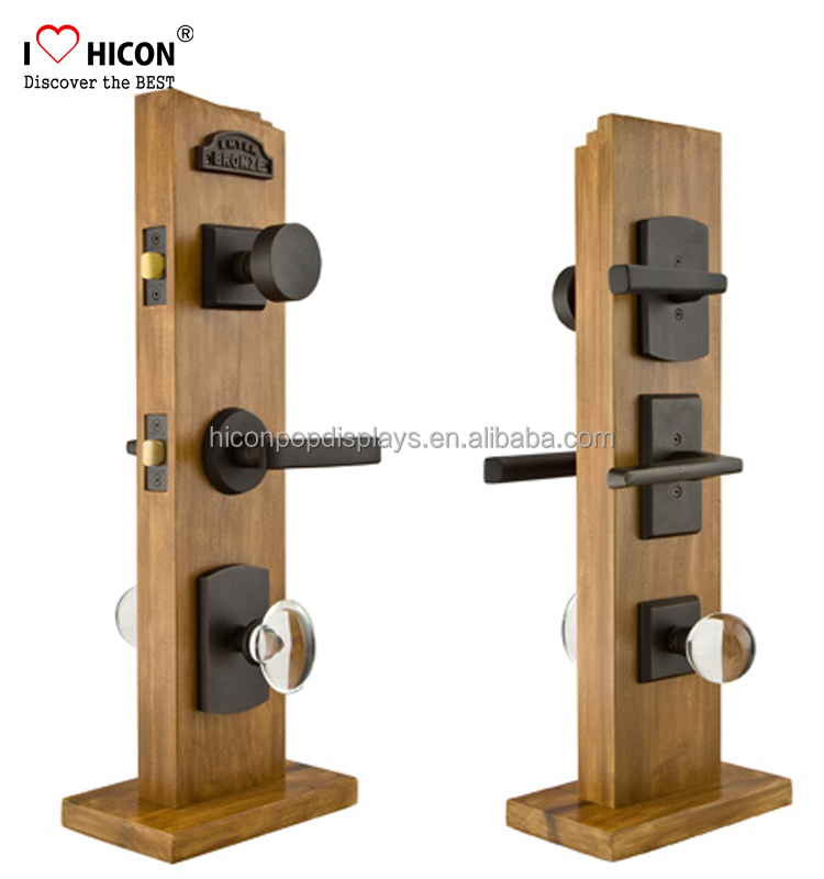 Understand Clients Merchandising Needs Hardware Shop Door Handle Custom Solid Wood <strong>Retail</strong> Door Lock Display Stands