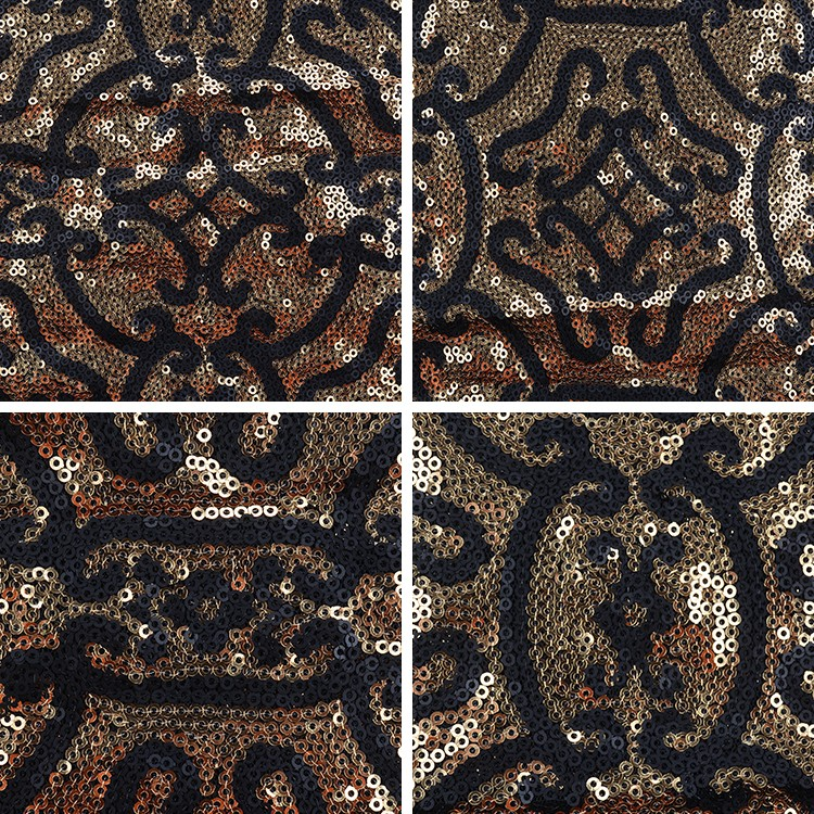rose gold 100 polyester sequin mesh embroidery lace fabric