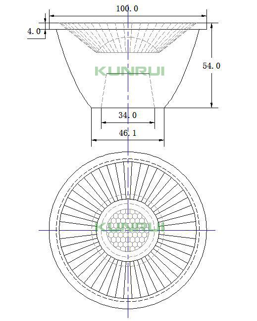 100 watt 10 15 30 degreeTIR fly eye glass lens for cob led