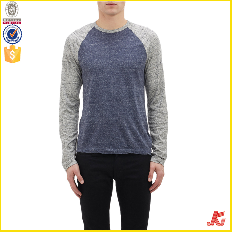 Two-color Long Raglan Sleeve T-shirt,T-shirt Cotton Single Jersey ...