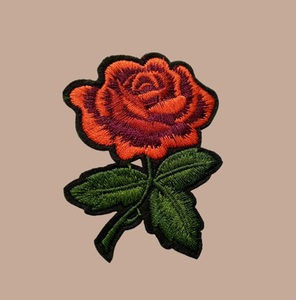 Custom colorful rose flower embroidery patch for jacket and dress
