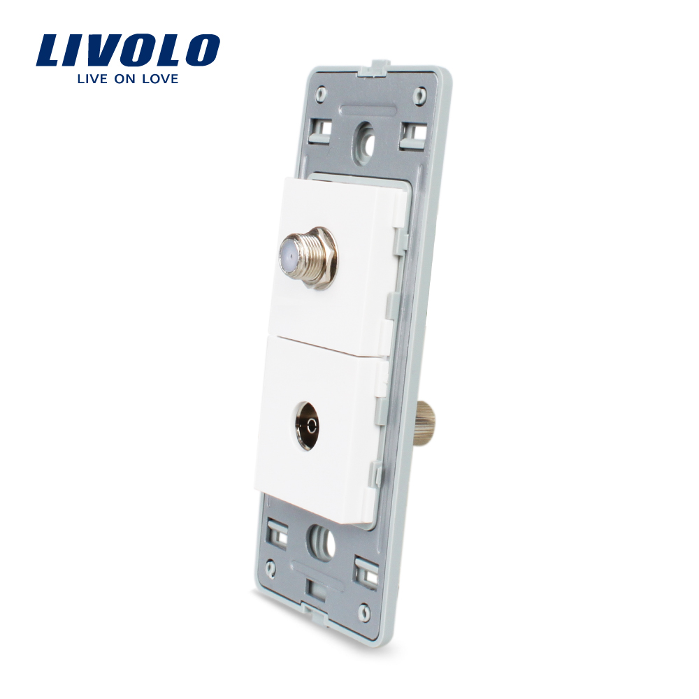 Livolo US Satellite and TV Socket Without White Pearl Crystal Glass electrical wall socket plugs VL-C5-1STV-11
