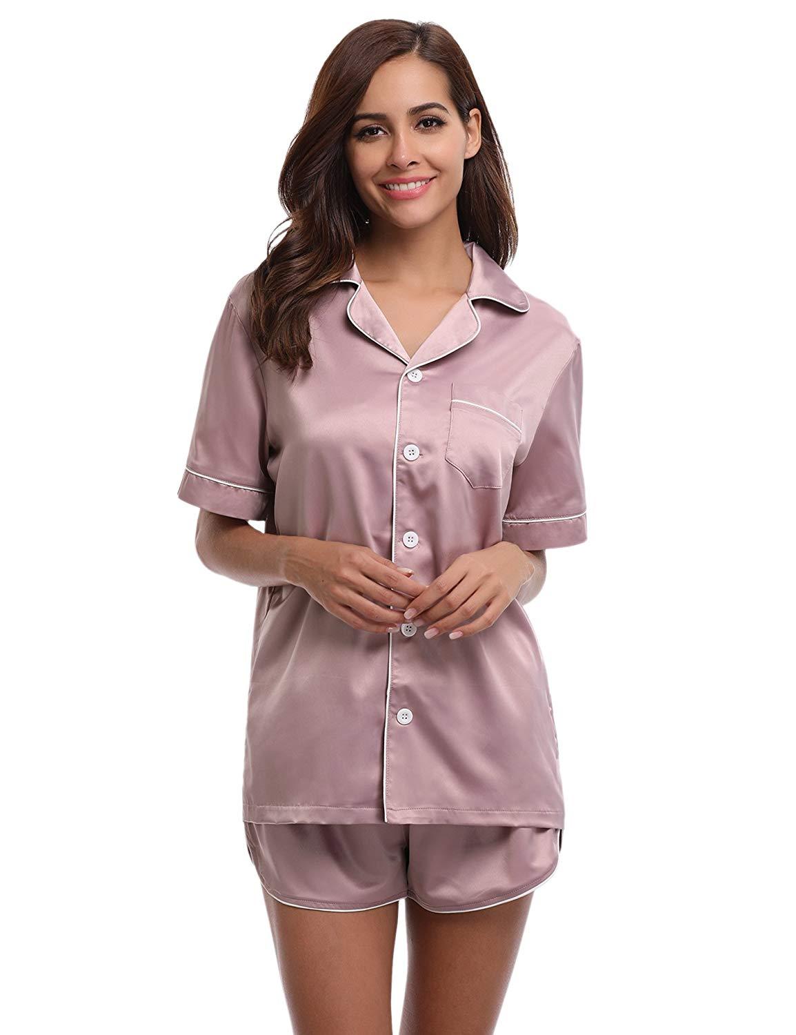 ad6db3cacc Get Quotations · Satin Pajamas Womens Short Set Silk Satin Sleepwear Short  Sleeves Pj Sets for Women
