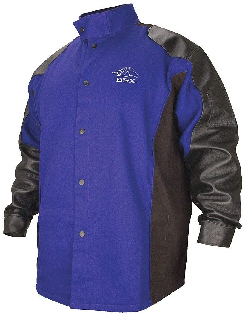 Blue/Black 100% 9 oz. Flame-Resistant Cotton Body and Grain Pigskin Sleeves Welding Jacket, Size: XL