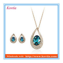 2016 Best Selling delicate diamond sapphire crystal jewelry set necklace and earring jewelry set