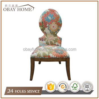 Colorful printed fabric dining chairs for bars cafes Decorative high back chairs Antique Knock down designs
