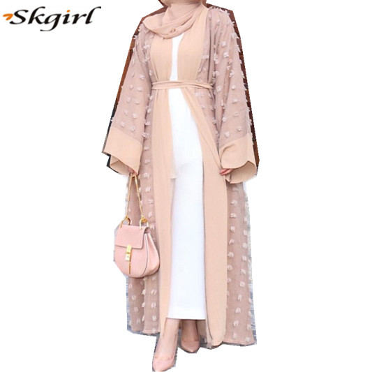 china clothing OEM Abaya Dubai Browns Open front long wide sleeves Pop up buttons islamic Flower Applique details muslim abaya