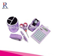 Bling bling rhinestone Crystal 6 pieces Office Supply Set: Pen Holder, Scissors, Calculator, Pen, Tape Dispenser & Stapler