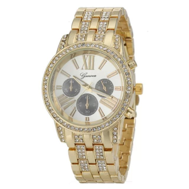 Stainless Steel Band Roman Numeral Dial Geneva Gold Watch Rhinestone Wristwatch Geneva Casual Fashion Unisex Quartz Watch 7