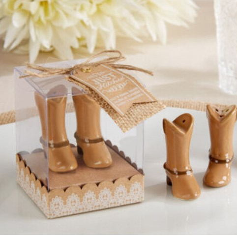 Party favor and gifts boots salt and peeper shaker set wedding giveaways