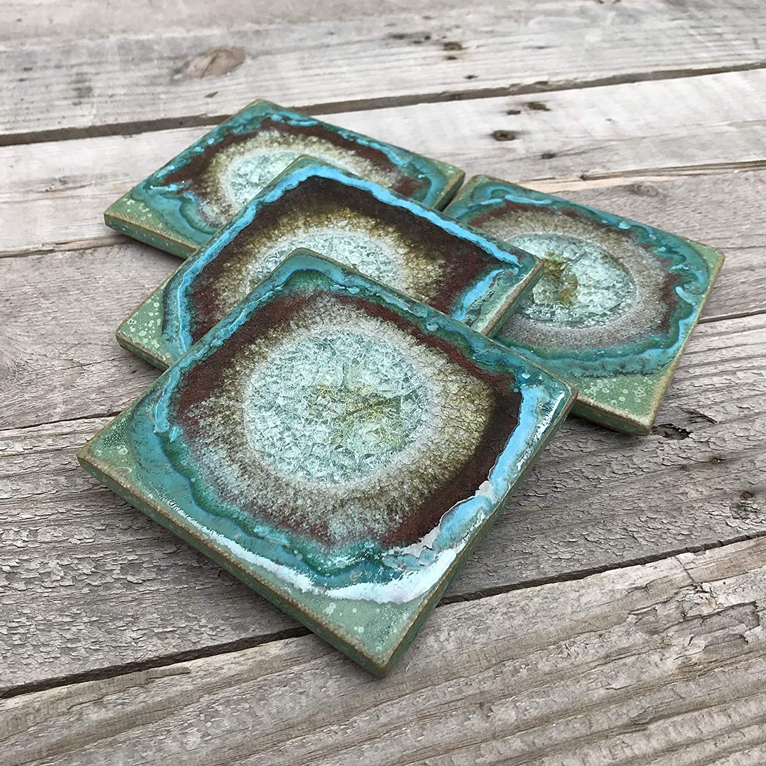 Geode Crackle Coaster Set of 4 in GREEN: Geode Coaster, Crackle Coaster, Fused Glass Coaster, Crackle Glass Coaster, Agate Coaster, Ceramic Coaster, Dock 6 Pottery Coaster