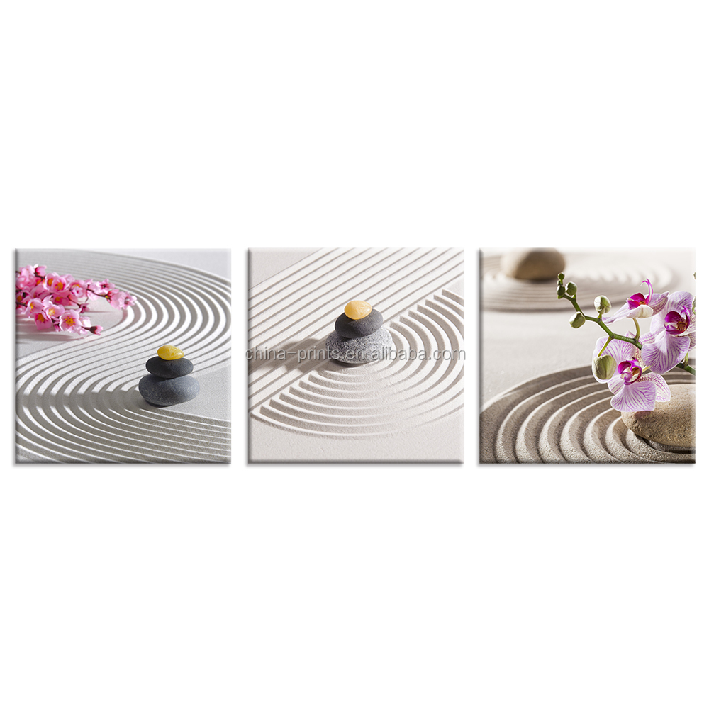 Zen Stone Canvas Print HD Orchid Flower Photo Canvas Art for Bedroom Wall Decor Canvas Wall Art