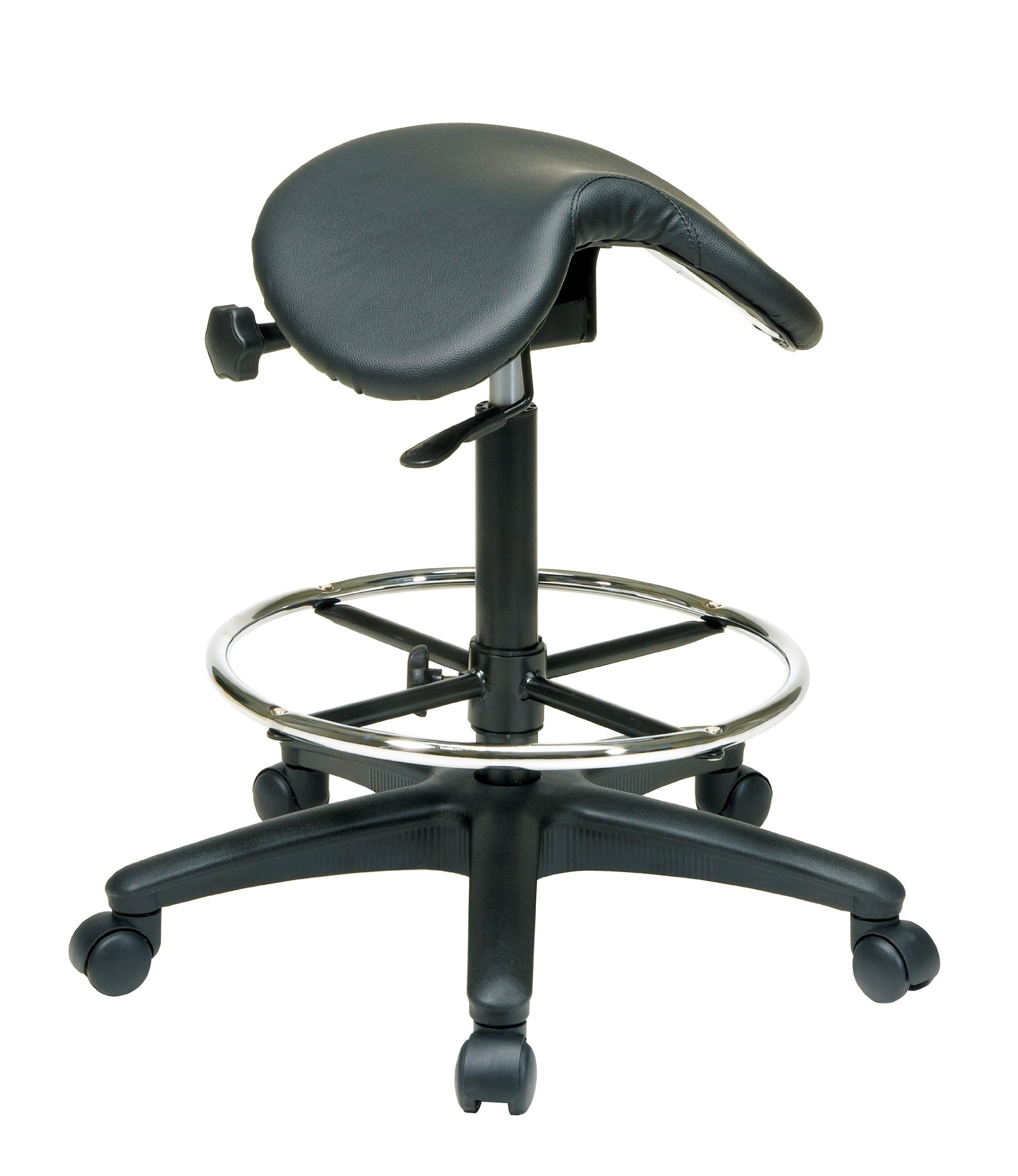 Office Star Backless Office Stool with Saddle Seat and Angle Adjustment, Black, 25 to 35-Inch Adjustable Height