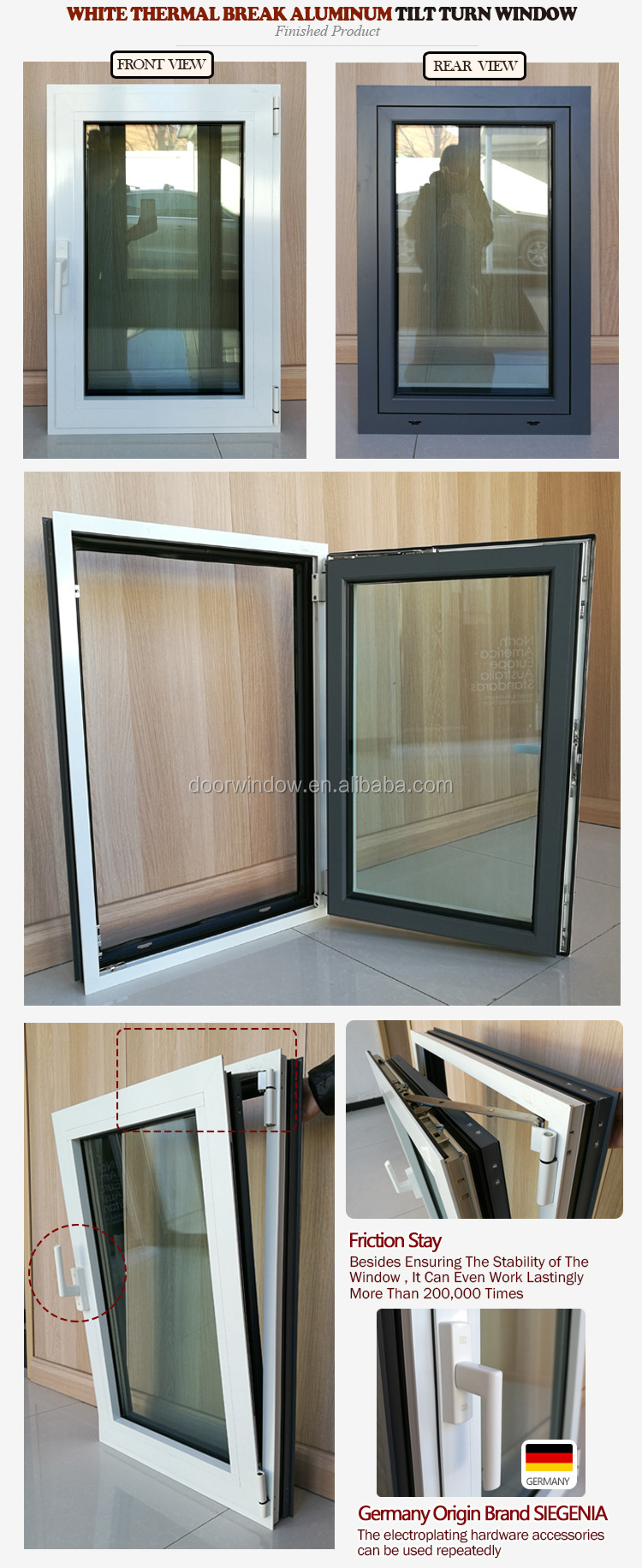 Double toughened cheap & big size aluminum tilt and turn window