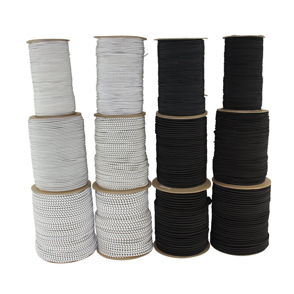 Polypro Shock Cord (1/4 inch) - SGT KNOTS - Polypropylene Bungee Line/Elastic Rope - for All-Weather, Crafting, Tie Downs, Commercial, Industrial, Camping, DIY Projects (50 feet - coil - Black)