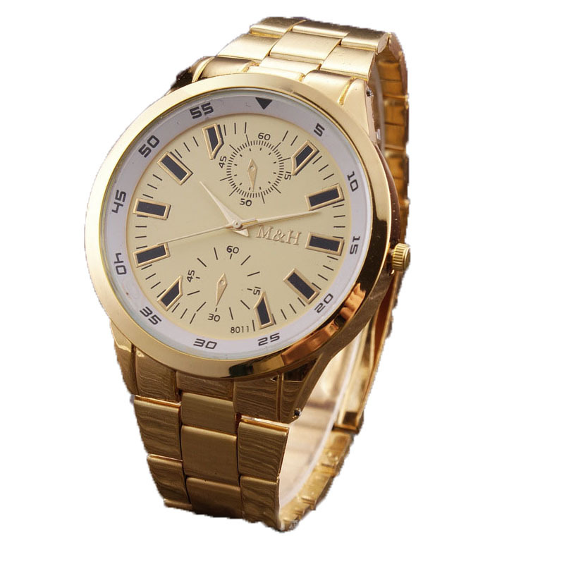 Mens luxury gold watch stainless steel  brand name quartz wristwatches orologi oro uomo montre homme classe relogios dourados
