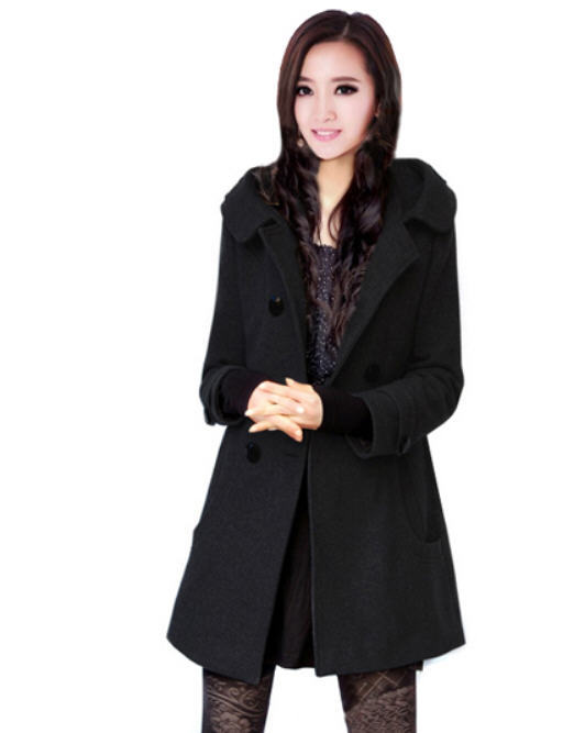 Womens Pea Coat Black - Tradingbasis