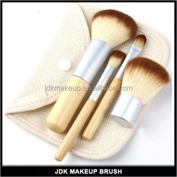 4 pcs bamboo handle make up brush wholesale kabuki brush set