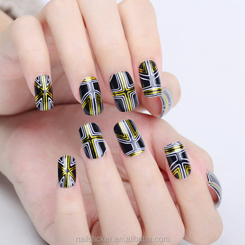 Wholesale free sample golded stripes nail art printer design wholesale free sample golded stripes nail art printer design sticker temporary water decal wedding fake full prinsesfo Images