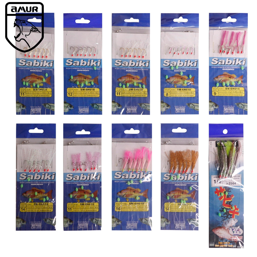 amur brand fishing tackle 22 packs set sea fishing sabiki rigs piscatore baits snelled hooks. Black Bedroom Furniture Sets. Home Design Ideas