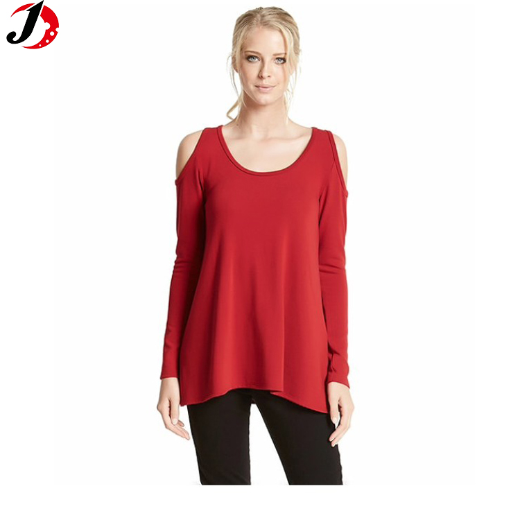 2018 red cold shoulder sweater casual design tops sweater women