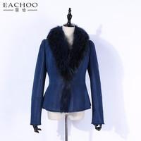 Winter Warm Natural Lamb Leather Coat With Big Fox Fur collar