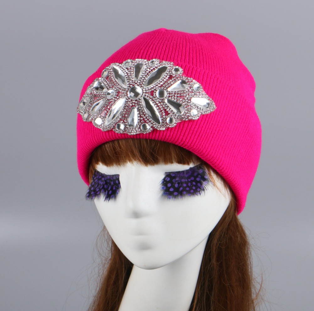 42b4b817 Customized knitting rhinestone caps and hats women fashion beanie winter hat  with cuffed brim