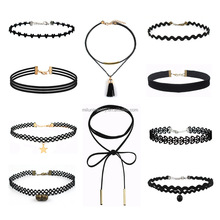 Wholesale Fashion black collar women chocker necklace jewelry heart velvet choker necklace set
