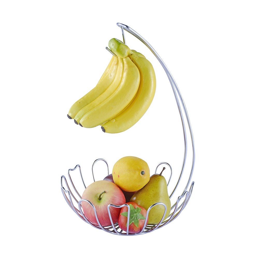 Factory Price Golden Metal Fruit Basket With Banana Holder
