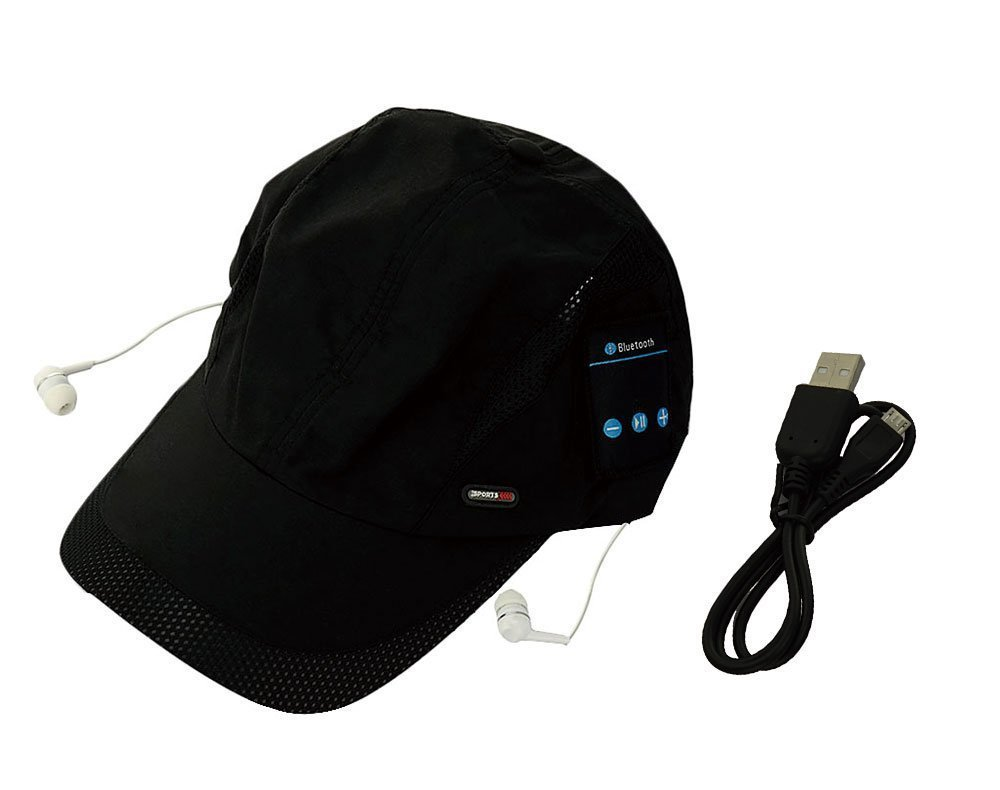 Winkeyes Women Men Bluetooth Baseball Cap Sun Hat Wireless Bluetooth Headset Sports Cap Music Speaker Sporting Running Summer Cap (Baseball hat-Black)