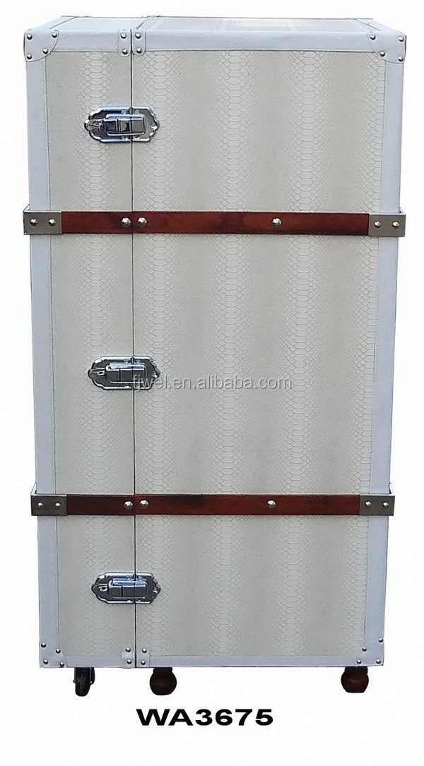 White Leather Steamer Trunk Bar Cabinet