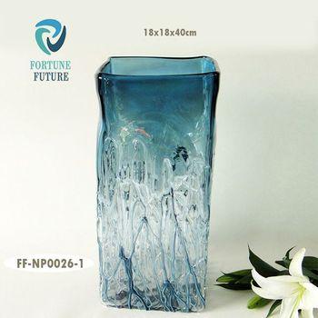Navy Peony Blue Hand Blown Duba Acrylic Crackle Square Flower Glass